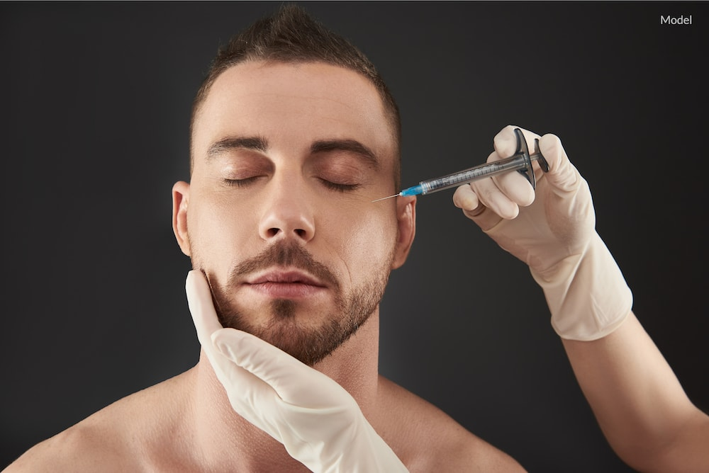 Man getting treated with injectables